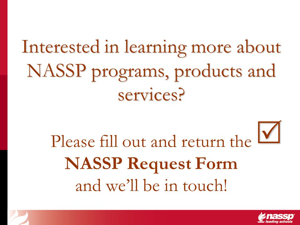 Interested in learning more about NASSP programs, products and services? Interested in learning more about NASSP programs, products and services? Plea