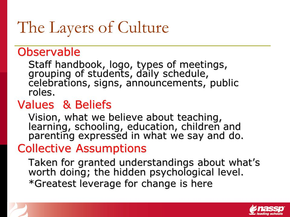 The Layers of Culture Observable Staff handbook, logo, types of meetings, grouping of students, daily schedule, celebrations, signs, announcements, pu