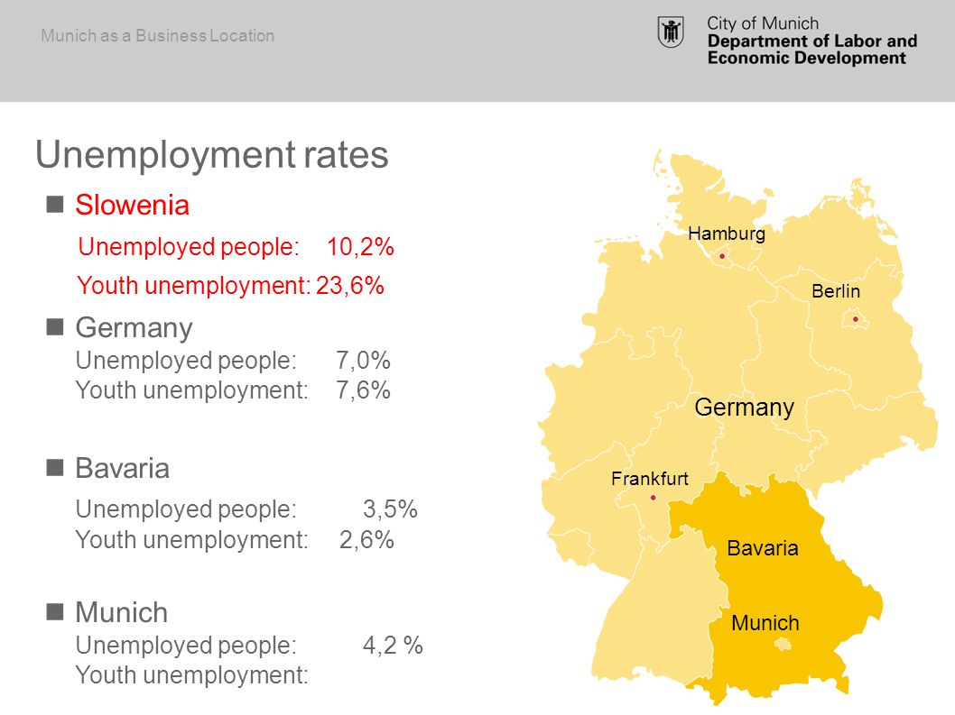 Germany s third largest municipality City of Munich 1.44 m inhabitants (2012) Outlook: 1.65 m inhabitants in 2030 City of Munich and periphery 2.9 m inhabitants (2012) Outlook: 3 m inhabitants in 2030 European Metropolitan Region of Munich (EMM) 5.6 m inhabitants (2012) Outlook: 5.7 m inhabitants in 2030 Munich Periphery EMM Bavaria Munich as a Business Location