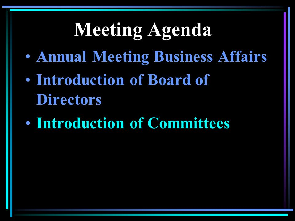 Meeting Agenda Annual Meeting Business Affairs Introduction of Board of Directors