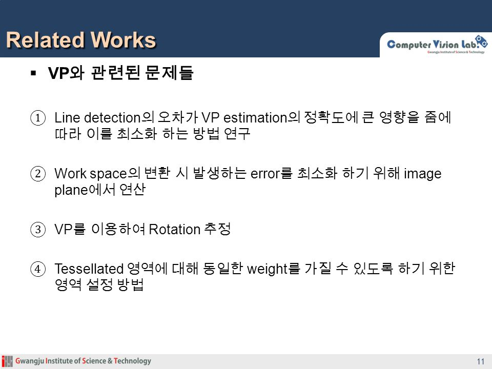VP Line detection VP estimation Work space error image plane VP Rotation Tessellated weight Related Works 11