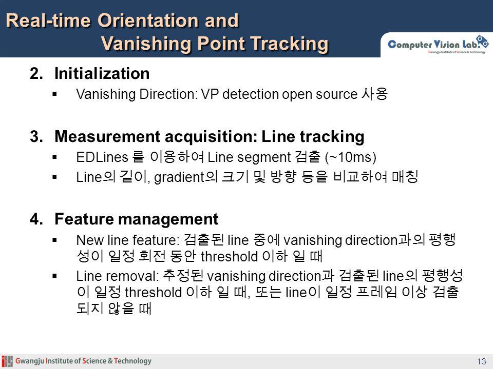 2. Initialization Vanishing Direction: VP detection open source 3. Measurement acquisition: Line tracking EDLines Line segment (~10ms) Line, gradient