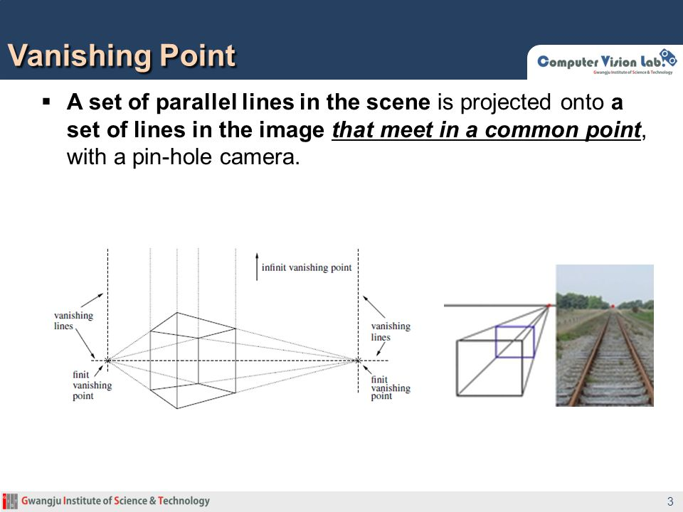 A set of parallel lines in the scene is projected onto a set of lines in the image that meet in a common point, with a pin-hole camera. Vanishing Poin
