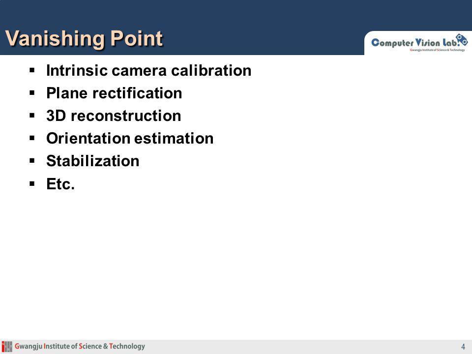 Intrinsic camera calibration Plane rectification 3D reconstruction Orientation estimation Stabilization Etc. Vanishing Point 4