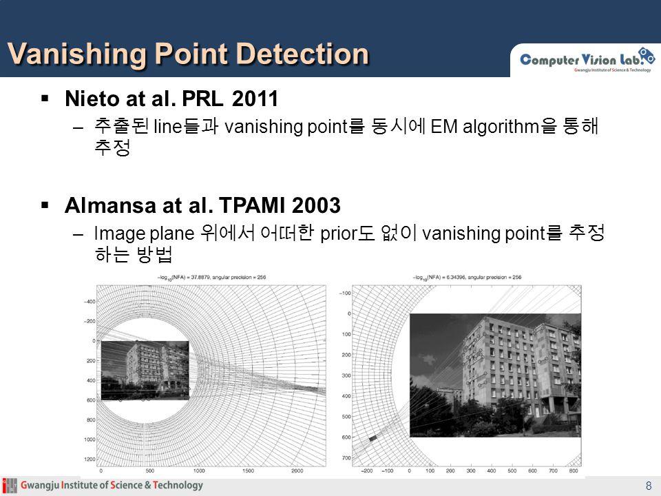Nieto at al. PRL 2011 – line vanishing point EM algorithm Almansa at al. TPAMI 2003 –Image plane prior vanishing point Vanishing Point Detection 8