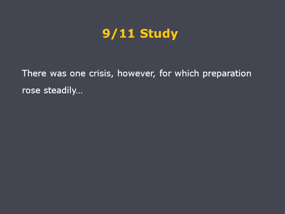 There was one crisis, however, for which preparation rose steadily… 9/11 Study