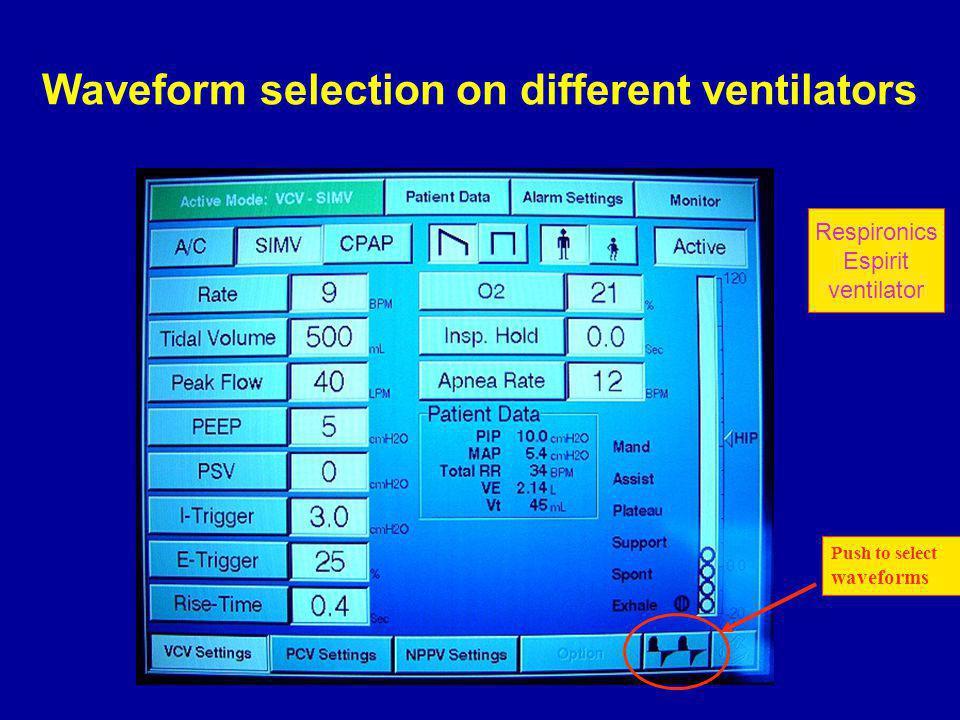 Push to select waveforms Respironics Espirit ventilator Waveform selection on different ventilators
