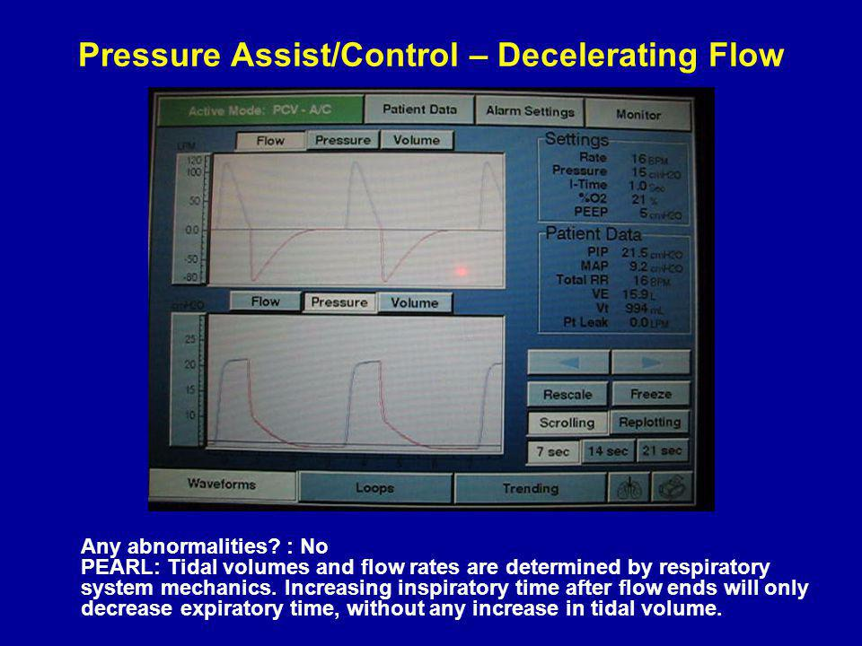 Pressure Assist/Control – Decelerating Flow Any abnormalities.