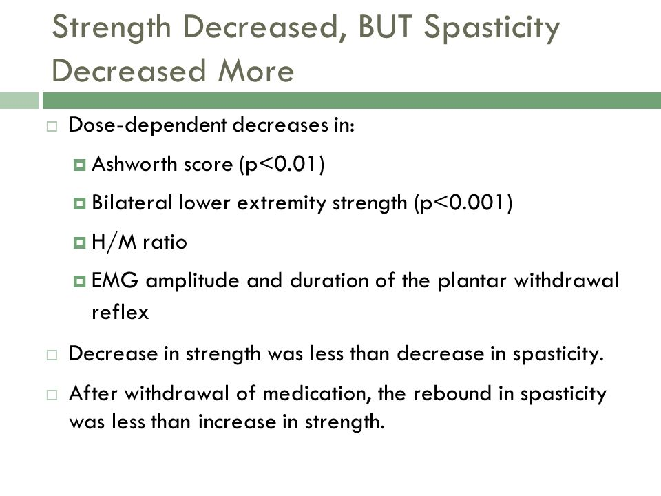 Strength Decreased, BUT Spasticity Decreased More Dose-dependent decreases in: Ashworth score (p<0.01) Bilateral lower extremity strength (p<0.001) H/