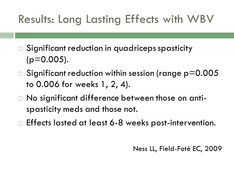 Results: Long Lasting Effects with WBV Significant reduction in quadriceps spasticity (p=0.005). Significant reduction within session (range p=0.005 t