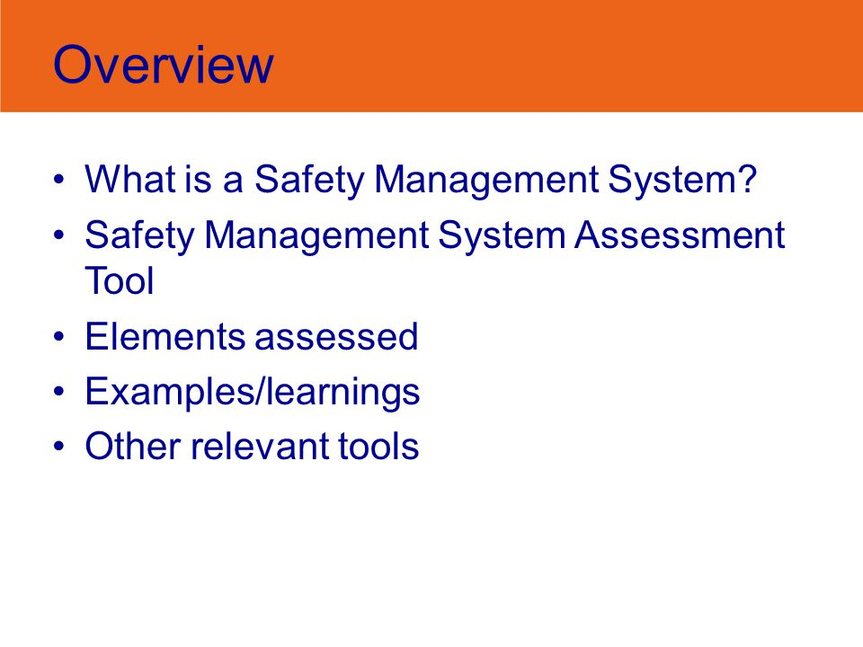 Examples from industry Common themes: Consultation –Toolbox talks for ancillary staff –WHS Committee –Communication across organisation eg via newsletter Hazard identification/reporting system –Formality/structure of system Risk Assessment/Safe Work Procedures Injury management processes