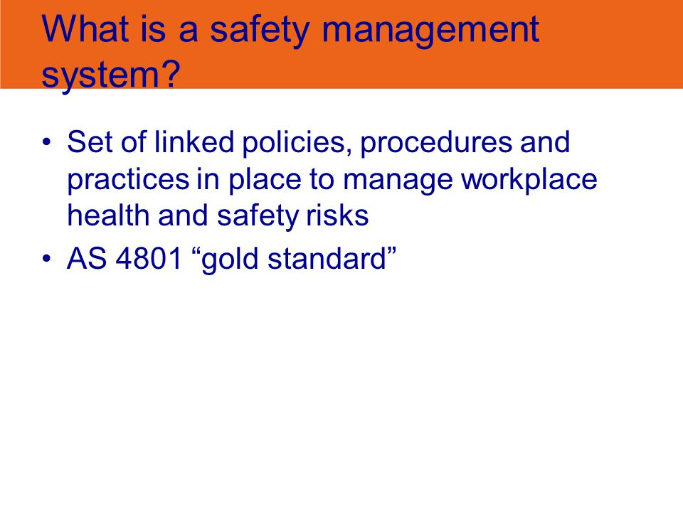 SASB - safety management system Safety Management System Management Commitment Consultation Safe Work Procedures Training & Supervision Reporting Safety Workers Compensation Return to Work