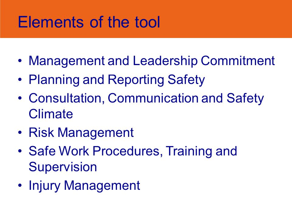Elements of the tool Management and Leadership Commitment Planning and Reporting Safety Consultation, Communication and Safety Climate Risk Management