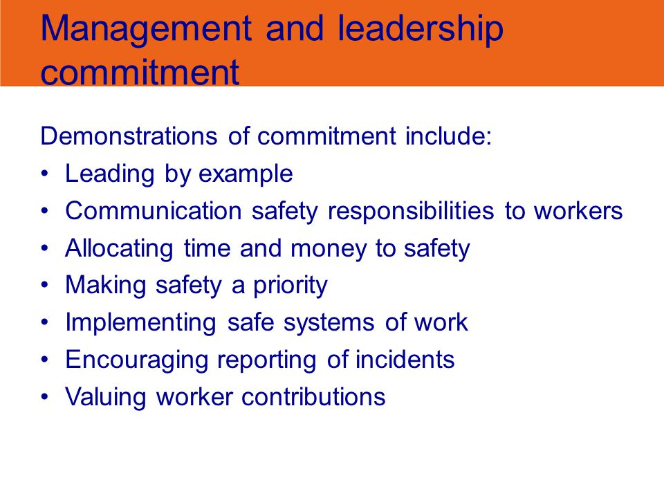 Management and leadership commitment Demonstrations of commitment include: Leading by example Communication safety responsibilities to workers Allocat