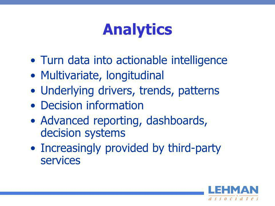 Analytics Turn data into actionable intelligence Multivariate, longitudinal Underlying drivers, trends, patterns Decision information Advanced reporting, dashboards, decision systems Increasingly provided by third-party services