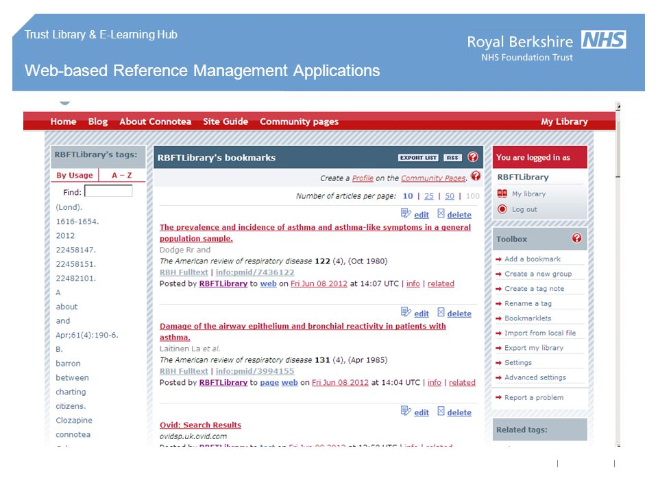 Trust Library & E-Learning Hub Web-based Reference Management Applications