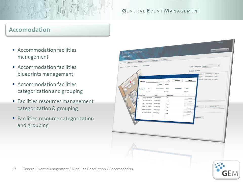 General Event Management / Modules Description / Accomodation17 Accommodation facilities management Accommodation facilities blueprints management Accommodation facilities categorization and grouping Facilities resources management categorization & grouping Facilities resource categorization and grouping Accomodation