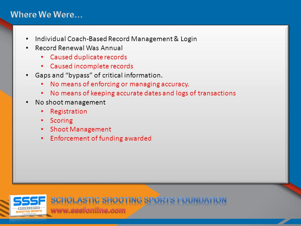 Individual Coach-Based Record Management & Login Record Renewal Was Annual Caused duplicate records Caused incomplete records Gaps and bypass of critical information.