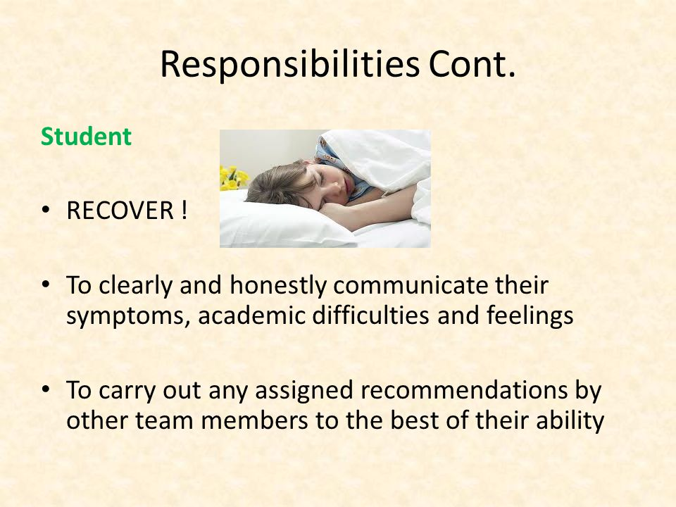 Responsibilities Cont. Student RECOVER .