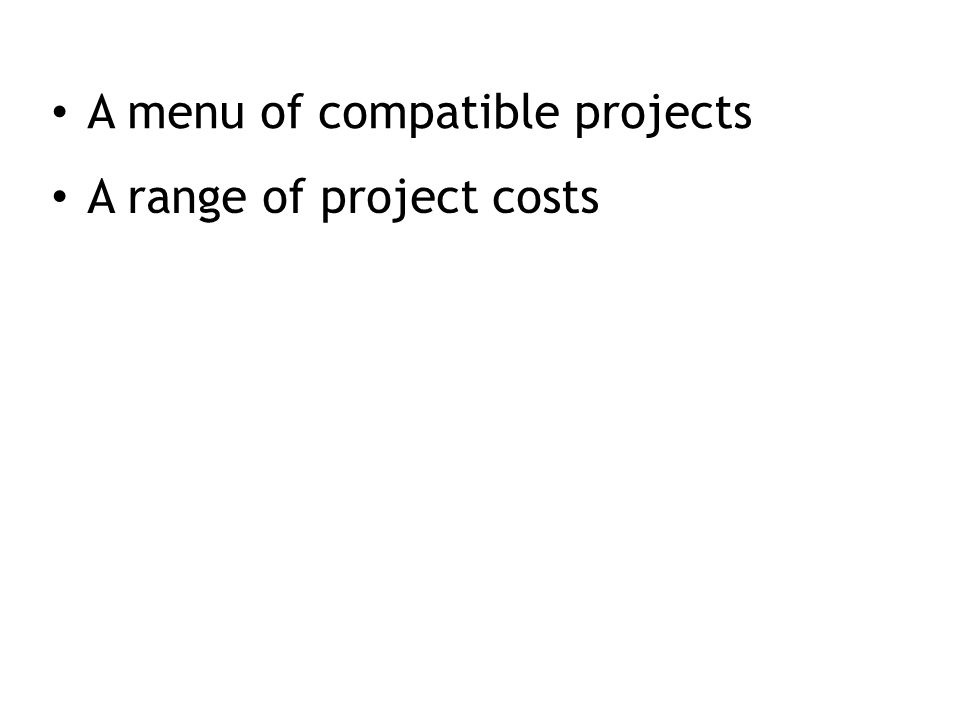 A range of project costs
