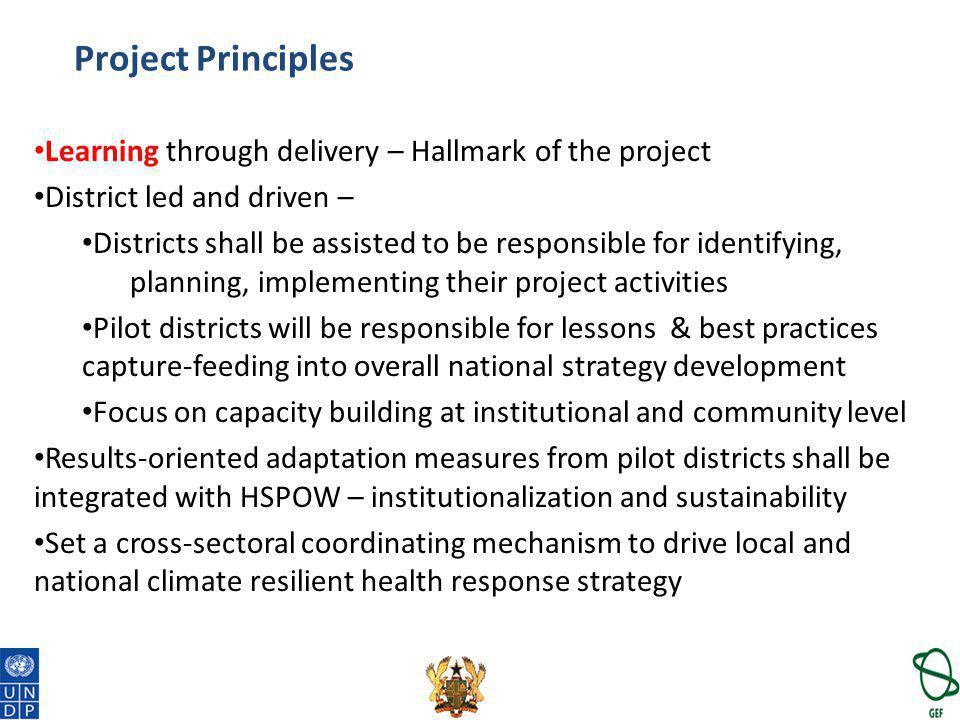 Project Principles Learning through delivery – Hallmark of the project District led and driven – Districts shall be assisted to be responsible for ide