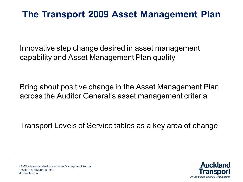 NAMS International Advanced Asset Management Forum Service Level Management Michael Mason