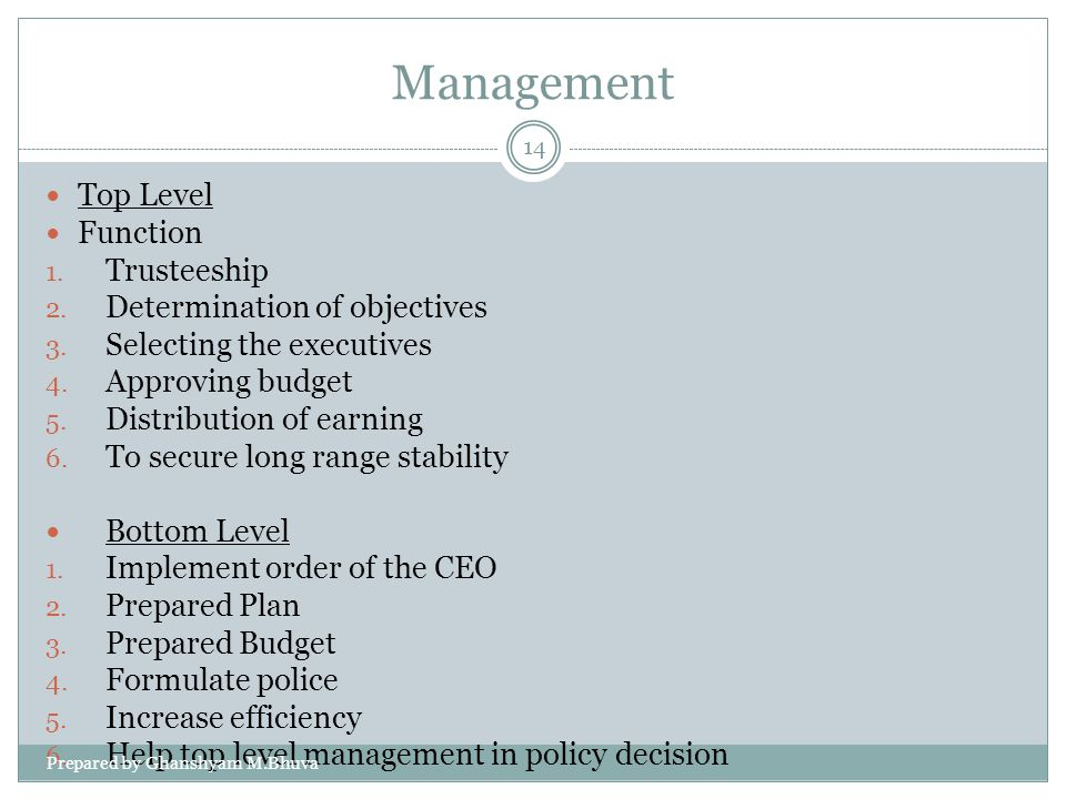 Management Top Level Function 1. Trusteeship 2. Determination of objectives 3. Selecting the executives 4. Approving budget 5. Distribution of earning