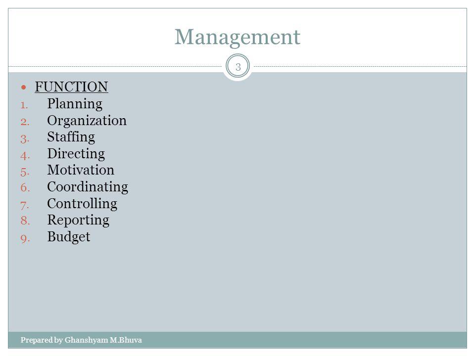 Management FUNCTION 1.Planning 2. Organization 3.