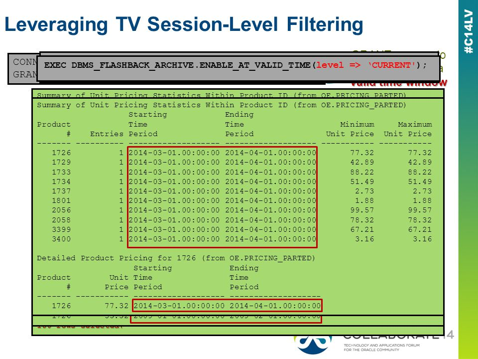 Leveraging TV Session-Level Filtering CONNECT / AS SYSDBA DBMS_FLASHBACK_ARCHIVEoe GRANT EXECUTE ON DBMS_FLASHBACK_ARCHIVE TO oe; valid time window GR