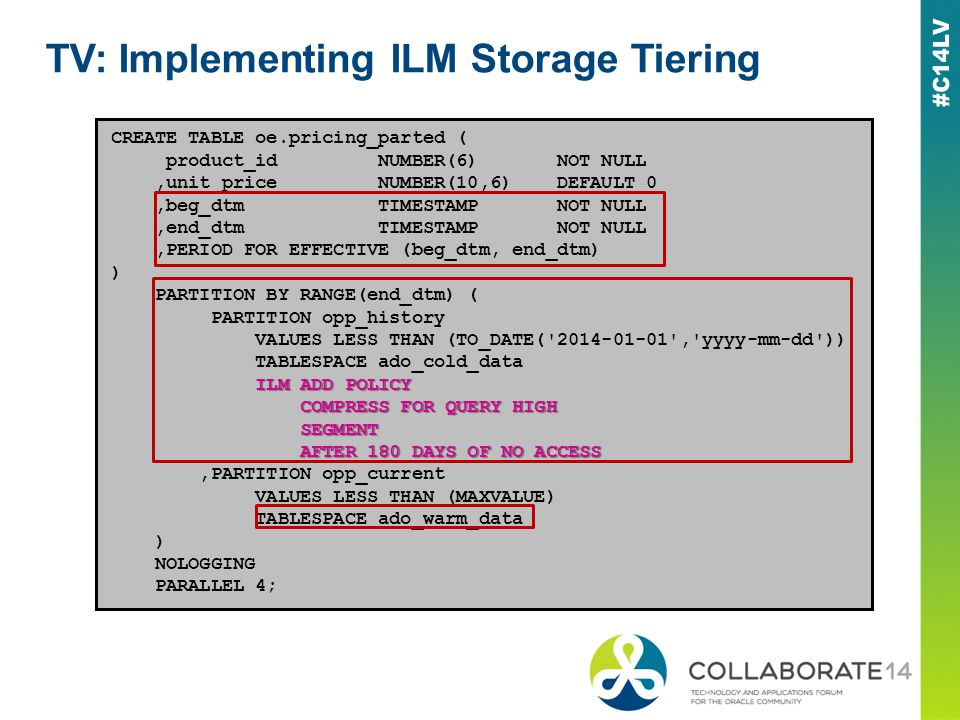 TV: Implementing ILM Storage Tiering CREATE TABLE oe.pricing_parted ( product_id NUMBER(6) NOT NULL,unit_price NUMBER(10,6) DEFAULT 0,beg_dtm TIMESTAM