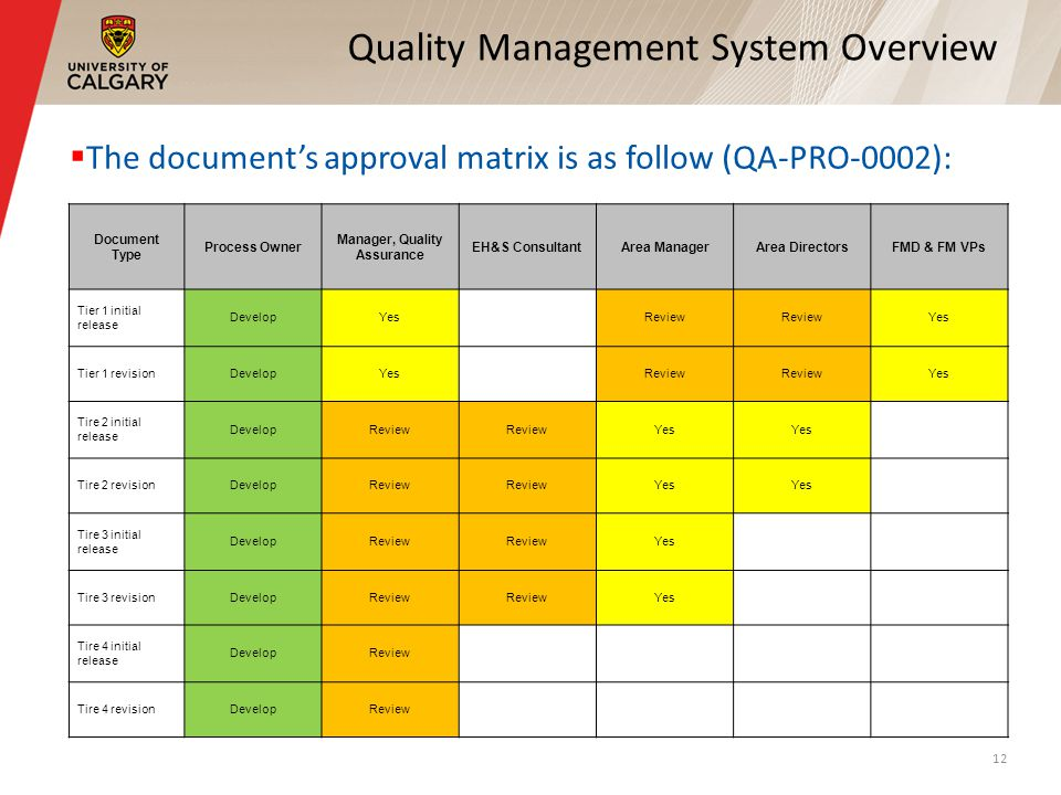 Quality Management System Overview The documents approval matrix is as follow (QA-PRO-0002): 12 Document Type Process Owner Manager, Quality Assurance