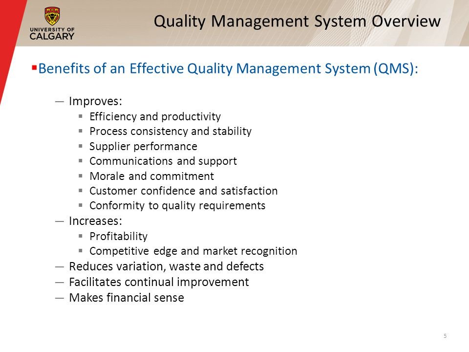 Quality Management System Overview Benefits of an Effective Quality Management System (QMS): Improves: Efficiency and productivity Process consistency