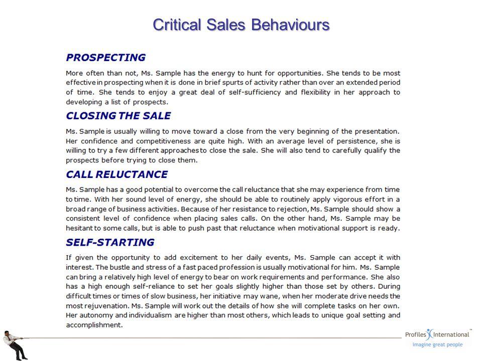 Critical Sales Behaviours