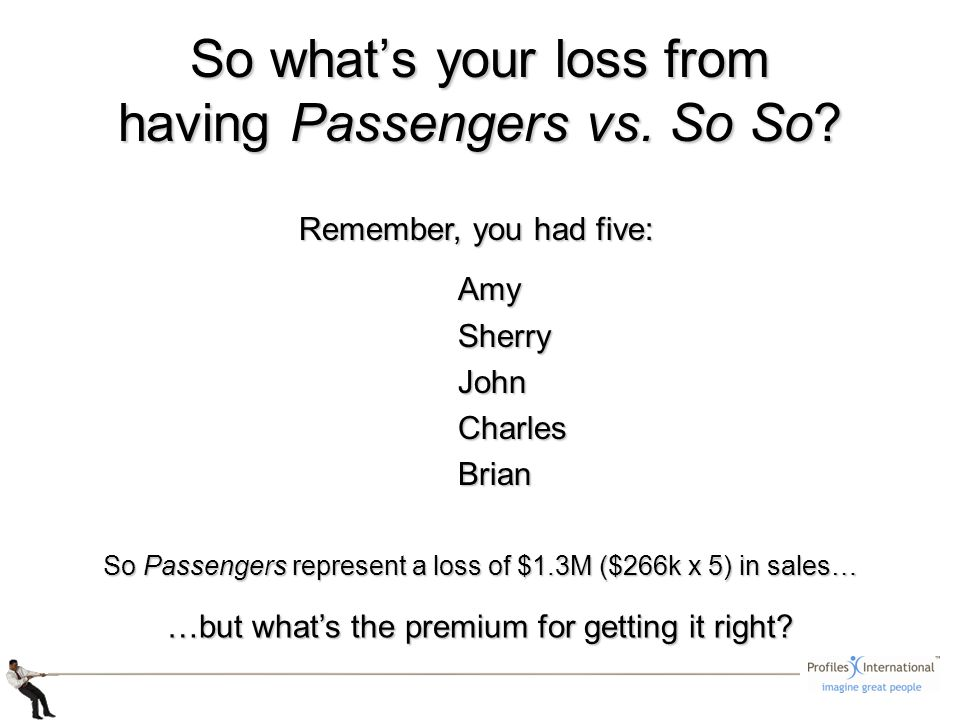 So whats your loss from having Passengers vs. So So.