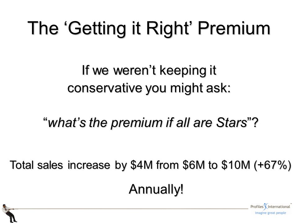 The Getting it Right Premium If we werent keeping it conservative you might ask: whats the premium if all are Stars? whats the premium if all are Star