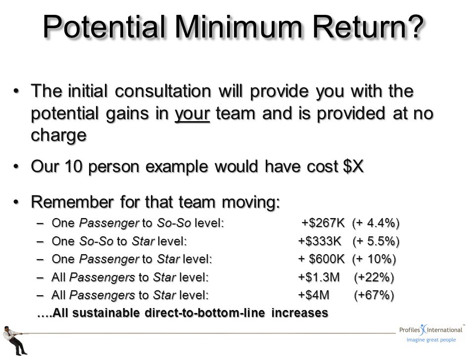 The initial consultation will provide you with the potential gains in your team and is provided at no chargeThe initial consultation will provide you with the potential gains in your team and is provided at no charge Our 10 person example would have cost $XOur 10 person example would have cost $X Remember for that team moving:Remember for that team moving: –One Passenger to So-So level: +$267K (+ 4.4%) –One So-So to Star level: +$333K (+ 5.5%) –One Passenger to Star level: + $600K (+ 10%) –All Passengers to Star level:+$1.3M (+22%) –All Passengers to Star level:+$4M (+67%) ….All sustainable direct-to-bottom-line increases Potential Minimum Return