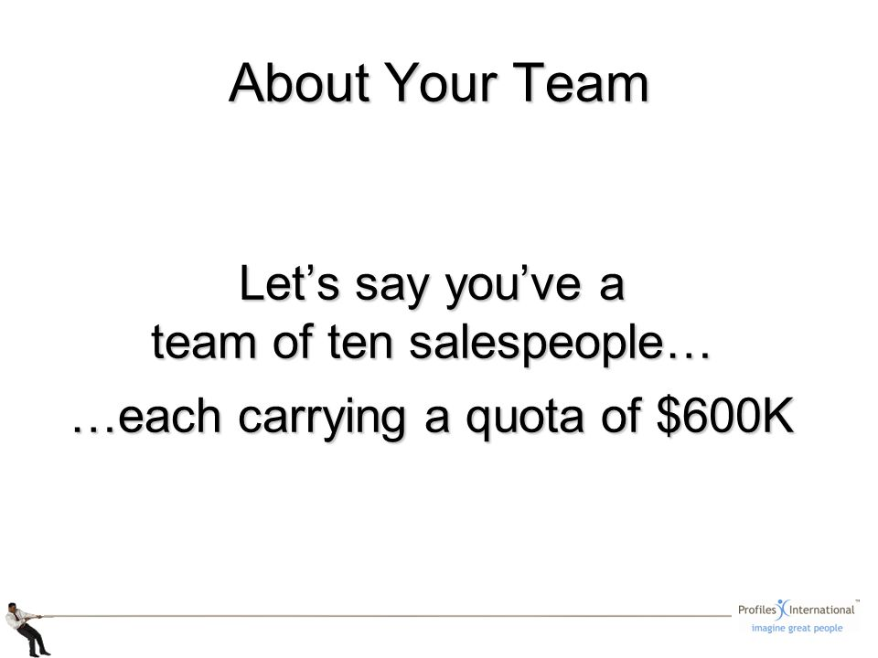 About Your Team Lets say youve a team of ten salespeople… …each carrying a quota of $600K