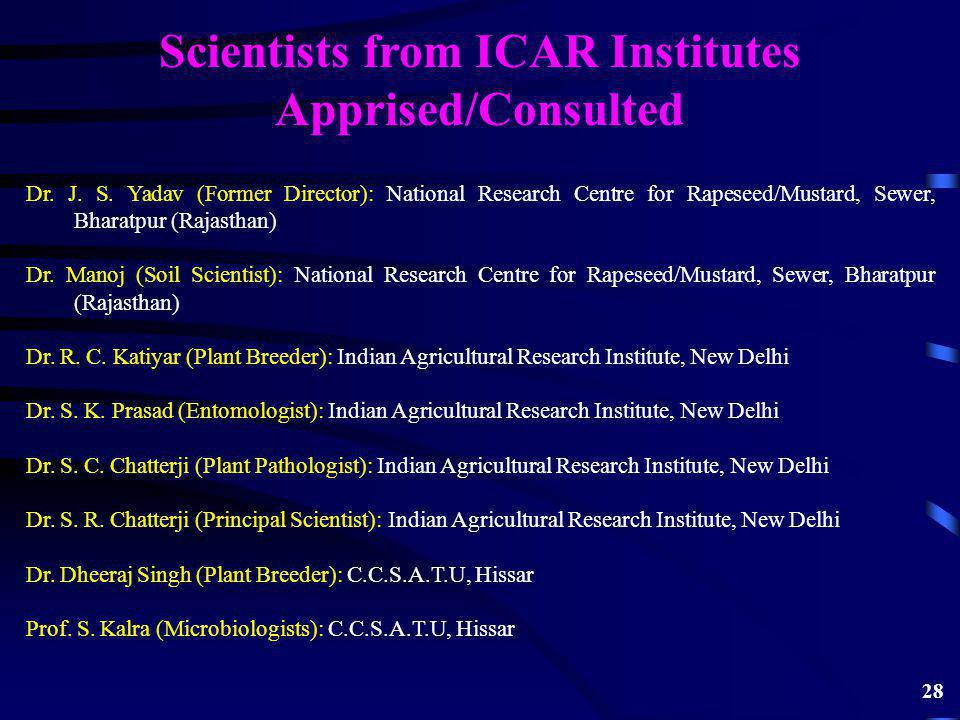Scientists from ICAR Institutes Apprised/Consulted Dr.