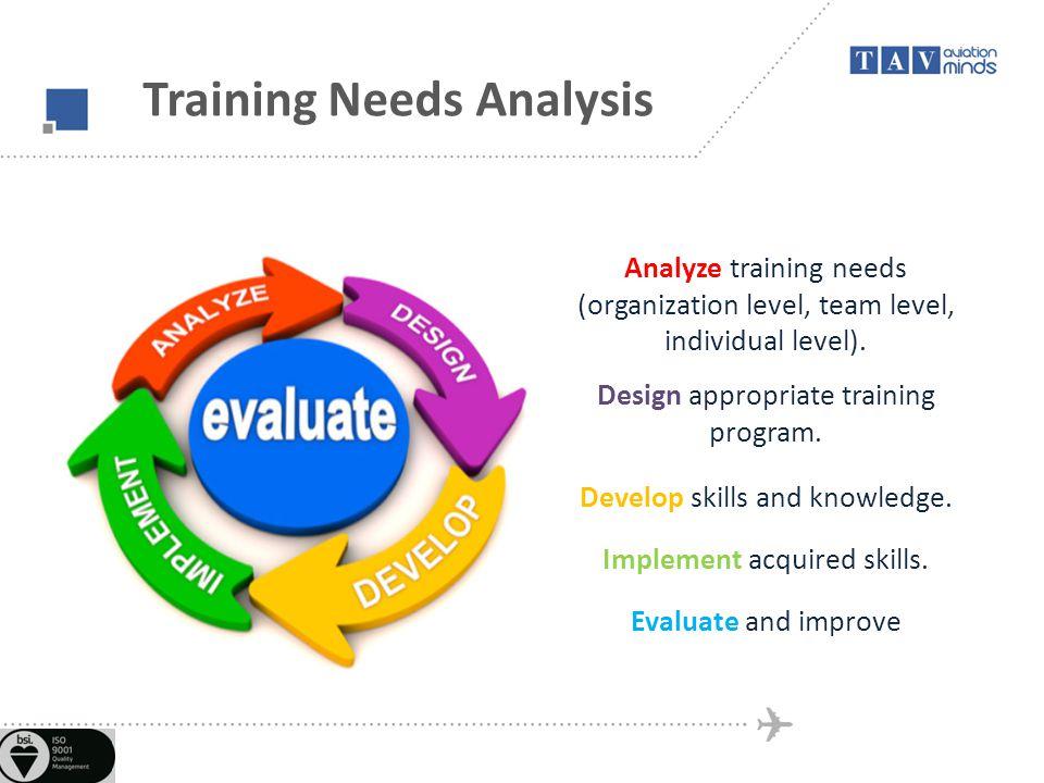 Training Needs Analysis Analyze training needs (organization level, team level, individual level).