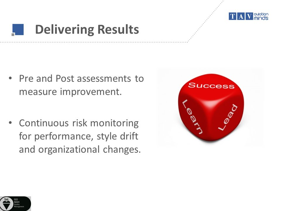 Delivering Results Pre and Post assessments to measure improvement. Continuous risk monitoring for performance, style drift and organizational changes