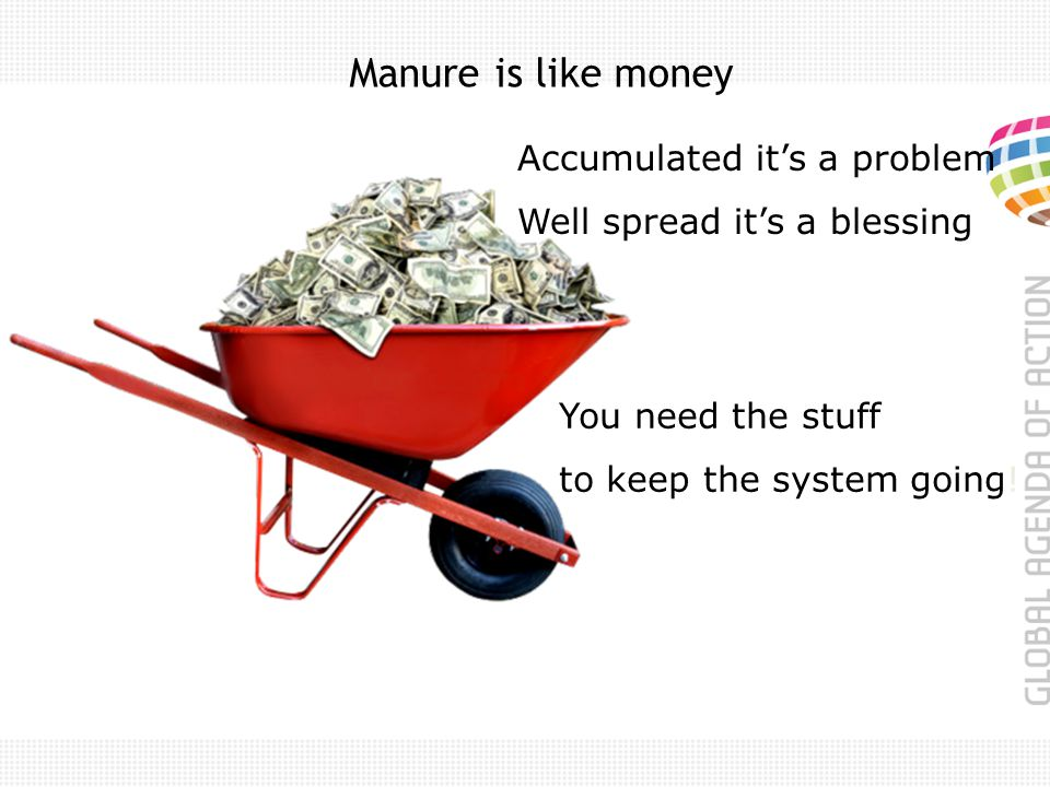 Manure is like money Accumulated its a problem Well spread its a blessing You need the stuff to keep the system going!