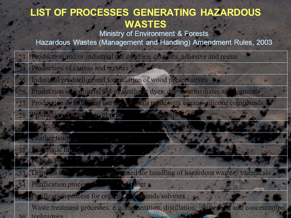 LIST OF PROCESSES GENERATING HAZARDOUS WASTES Ministry of Environment & Forests Hazardous Wastes (Management and Handling) Amendment Rules, 2003 23 Pr