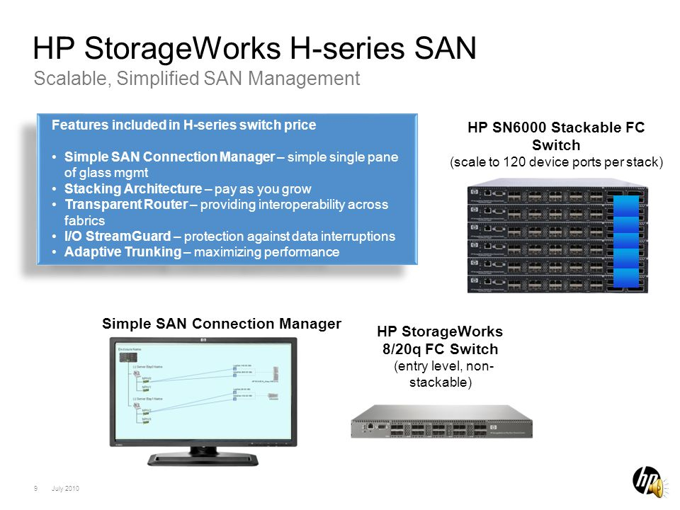 8 July 2010 Practical Example with Simple SAN Connection Manager HP Converged Infrastructure Host creationLUN CreationLUN Mounting Total Effort* Typical Disk Mgmt Application 3-4 h3.5-4h2.5-3hUp to 11 hours HP SSCM0 h~60 min0 h~ 1 h Initial installation & configuration Creation of 64x LUNs for 32x BladeSystem servers in total * Keyboard time Administration work during operation: Creation of additional 10x LUNs for new applications Host creationBuild of the LUNs LUN Mounting Total Effort* Typical Disk Mgmt Application h Up to 2 hours HP SSCM-~10 min0 h<30 min