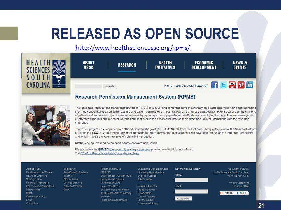 RELEASED AS OPEN SOURCE http://www.healthsciencessc.org/rpms/ 24