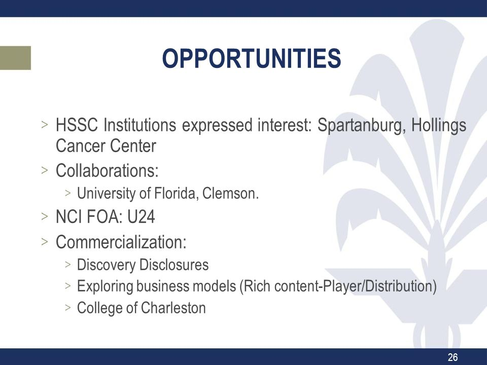 OPPORTUNITIES HSSC Institutions expressed interest: Spartanburg, Hollings Cancer Center Collaborations: University of Florida, Clemson.