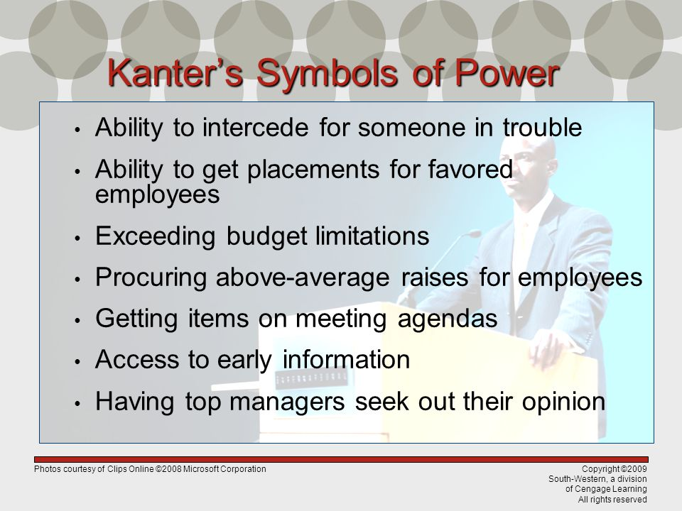 Copyright ©2009 South-Western, a division of Cengage Learning All rights reserved Kanters Symbols of Power Ability to intercede for someone in trouble Ability to get placements for favored employees Exceeding budget limitations Procuring above-average raises for employees Getting items on meeting agendas Access to early information Having top managers seek out their opinion Photos courtesy of Clips Online ©2008 Microsoft Corporation
