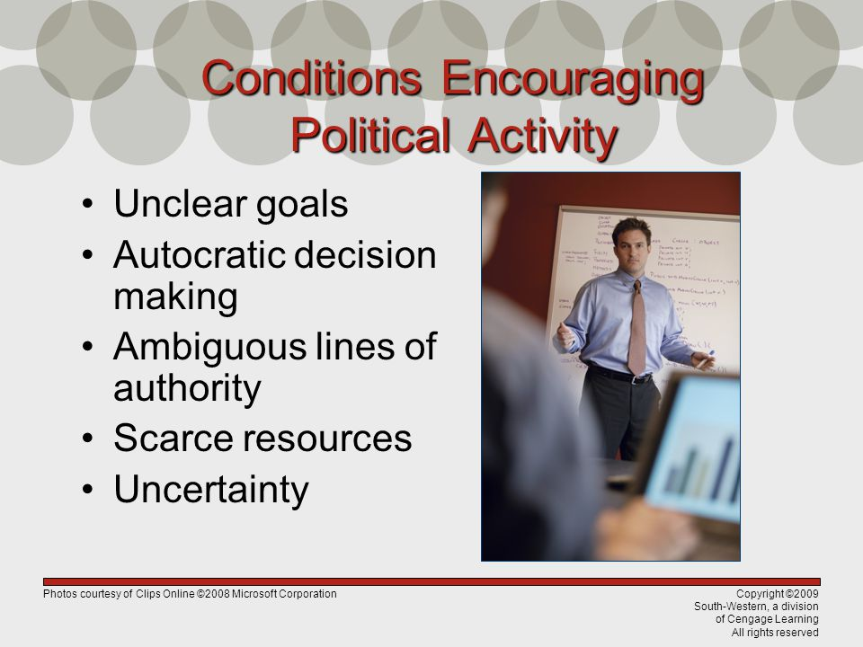 Copyright ©2009 South-Western, a division of Cengage Learning All rights reserved Conditions Encouraging Political Activity Unclear goals Autocratic decision making Ambiguous lines of authority Scarce resources Uncertainty Photos courtesy of Clips Online ©2008 Microsoft Corporation
