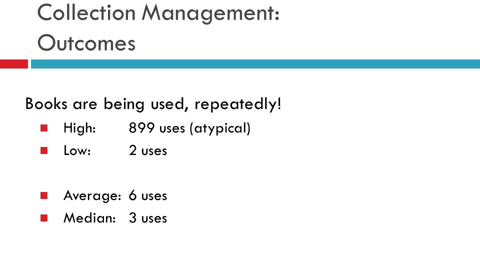 Collection Management: Outcomes Books are being used, repeatedly! High:899 uses (atypical) Low:2 uses Average:6 uses Median: 3 uses