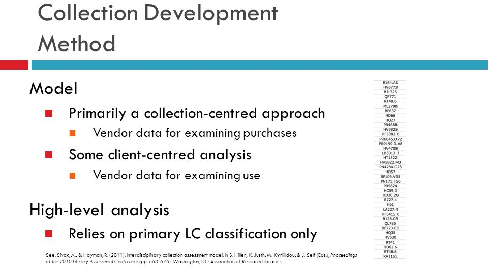 Collection Development Method Model Primarily a collection-centred approach Vendor data for examining purchases Some client-centred analysis Vendor da