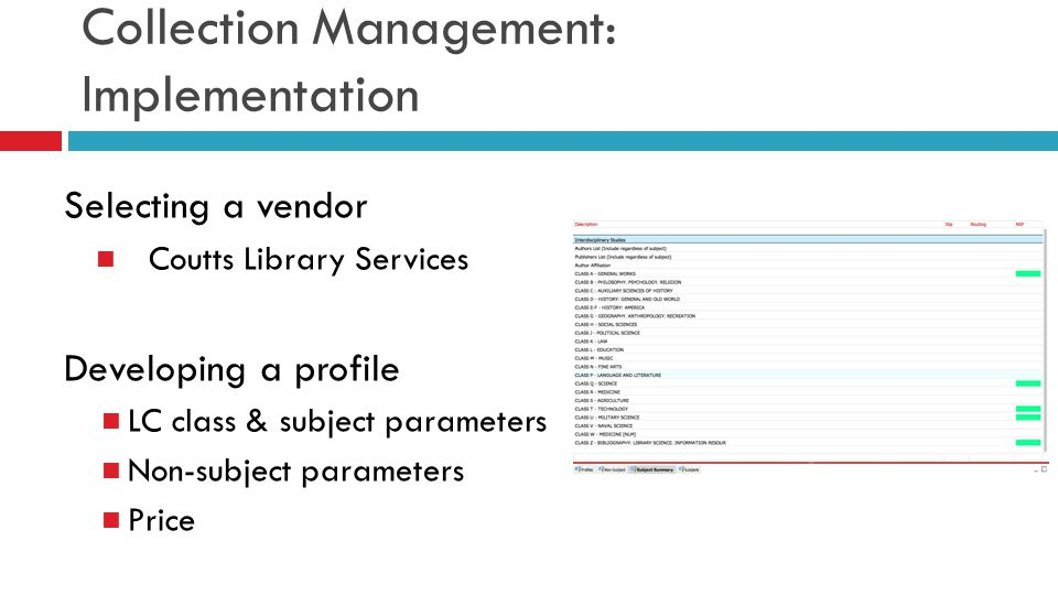 Collection Management: Implementation Selecting a vendor Coutts Library Services Developing a profile LC class & subject parameters Non-subject parame